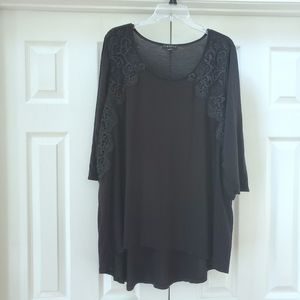 Lane Bryant black lace accent tunic top, 26/28